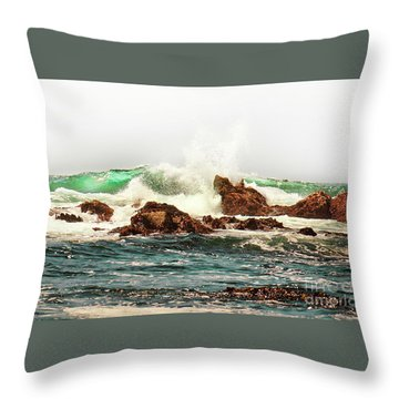 Waves Against The Rocks In Pacific Grove California Throw Pillow