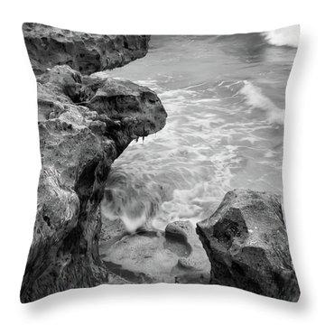 Waves And Coquina Rocks, Jupiter, Florida #39358-bw Throw Pillow