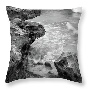 Waves And Coquina Rocks, Jupiter, Florida #39358-bw Throw Pillow