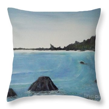 Waves And Pines Throw Pillow
