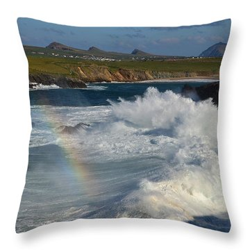 Waves And Rainbow At Clogher Throw Pillow