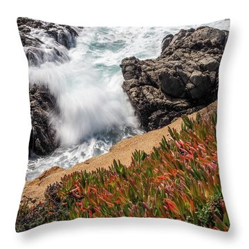 Waves And Rocks At Soberanes Point, California 30296 Throw Pillow