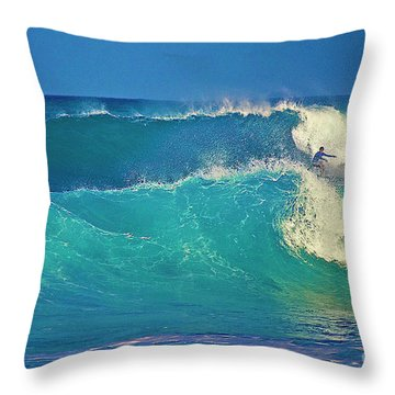 Waves And Surfer In Morning Light Throw Pillow by Bette Phelan