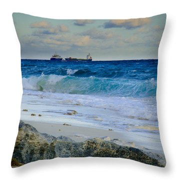 Waves And Tankers Throw Pillow