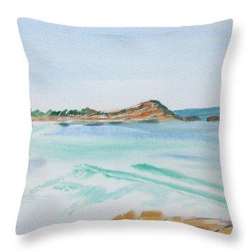 Waves Arriving Ashore In A Tasmanian East Coast Bay Throw Pillow