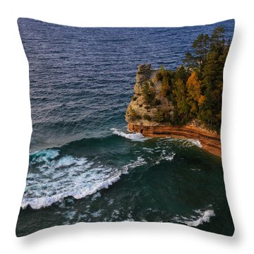 Waves At Miners Castle Throw Pillow