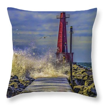 Waves At Muskegon South Breakwater Throw Pillow