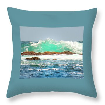Waves At Pacific Grove California Throw Pillow