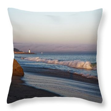 Waves At Santa Cruz Throw Pillow