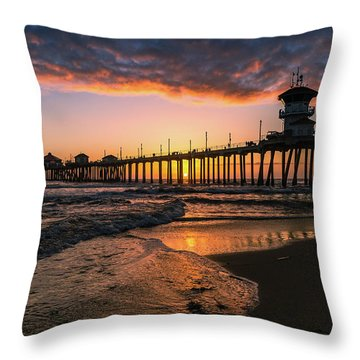 Waves At Sunset Throw Pillow