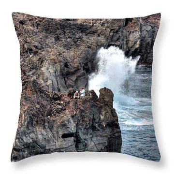 Throw Pillow featuring the photograph Waves Azores-047 by Joseph Amaral