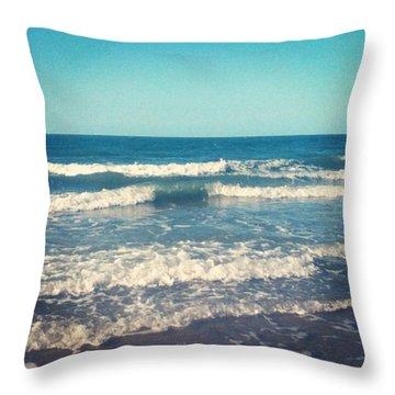 #waves #blue #water #ocean #beach Throw Pillow
