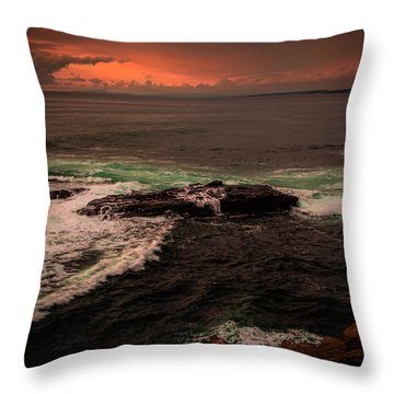 Waves Breaking Over The Rocks Throw Pillow