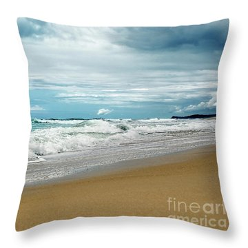 Throw Pillow featuring the photograph Waves Clouds And Sand By Kaye Menner by Kaye Menner