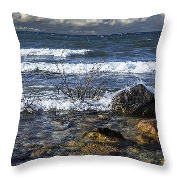 Waves Crashing Ashore At Northport Point On Lake Michigan Throw Pillow