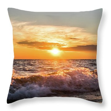 Waves Crashing With Suset Throw Pillow