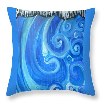 Throw Pillow featuring the painting Waves Graffiti By Janelle Dey by Janelle Dey