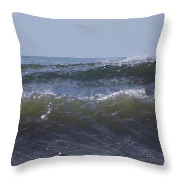 Waves In A Set Throw Pillow by John Wartman
