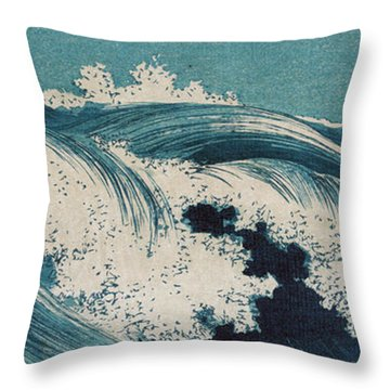 Throw Pillow featuring the painting Waves by Konen Uehara