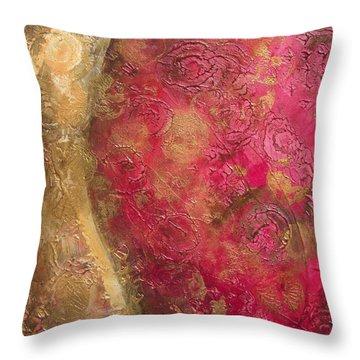 Waves Of Circles On Fuchsia Throw Pillow by Kristen Abrahamson
