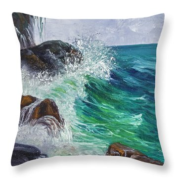 Throw Pillow featuring the painting Waves On Maui by Darice Machel McGuire