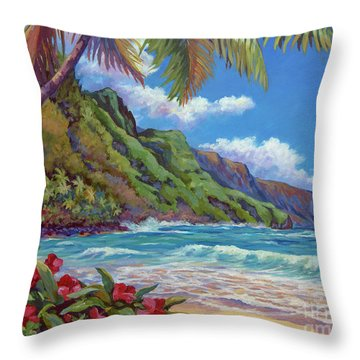 Waves On Na Pali Shore Throw Pillow