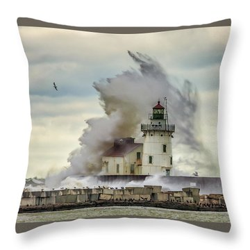 Waves Over The Lighthouse In Cleveland. Throw Pillow