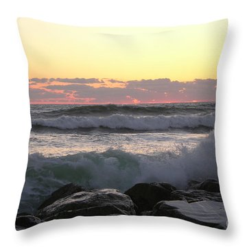 Waves Over The Rocks  5-3-15 Throw Pillow