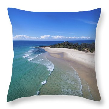Waves Rolling In To North Point Beach On Moreton Island Throw Pillow