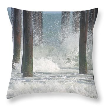 Waves Under The Pier Throw Pillow