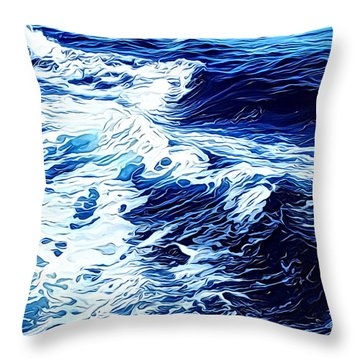Waves Throw Pillow by Zedi