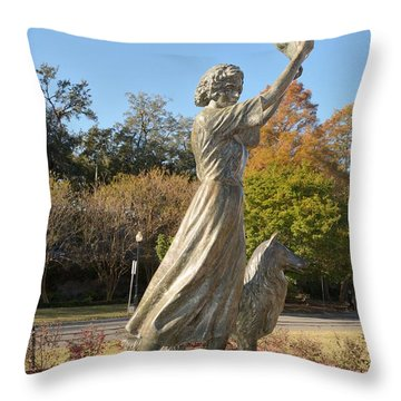 Waving Girl Of Savannah Throw Pillow