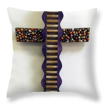 Wavy Cross With Beads Throw Pillow