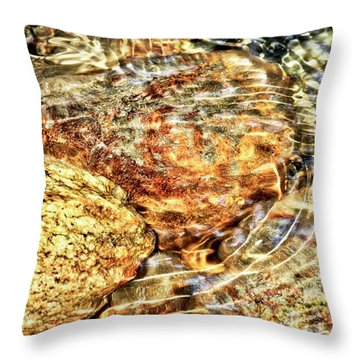 Wavy Water On Colorful Rocks Throw Pillow