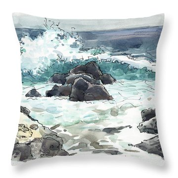 Wawaloli Beach, Hawaii Throw Pillow