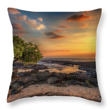 Wawaloli Beach Sunset Throw Pillow