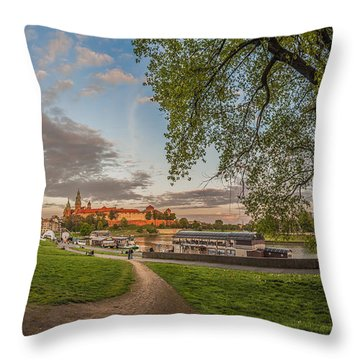 Throw Pillow featuring the photograph Wawel Royal Castle Seen From Vistula Bank In 16x9 by Julis Simo