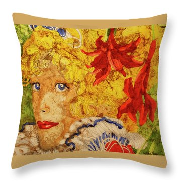 Throw Pillow featuring the painting Wax On Wax Off by Cynthia Powell
