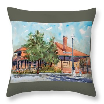 Waxachie Train Station Throw Pillow by Ron Stephens