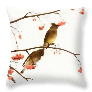 Waxwing Wonders Throw Pillow
