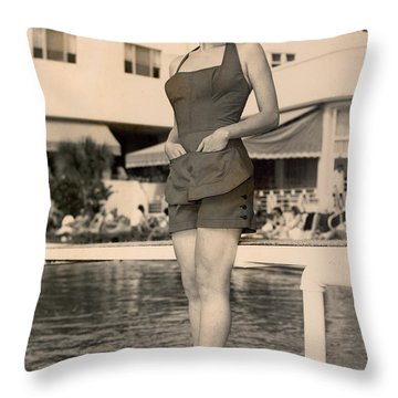 Way Back Then At The Fontainebleau In Miami Beach Throw Pillow
