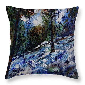 Throw Pillow featuring the painting Way Of The Mono Trail by Walter Fahmy
