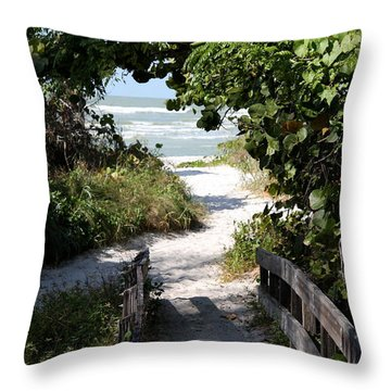 Way To The Beach Throw Pillow by Christiane Schulze Art And Photography