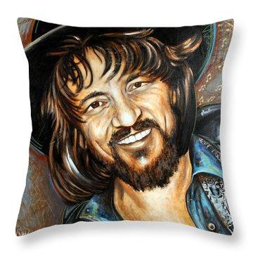 Waylon Jennings Throw Pillow