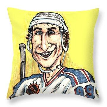 Wayne Gretsky Caricature Throw Pillow
