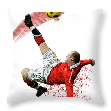 Wayne Rooney Throw Pillow by Armaan Sandhu