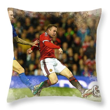 Wayne Rooney Of Manchester United Scores Throw Pillow by Don Kuing