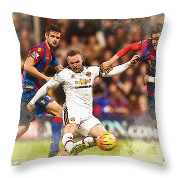 Wayne Rooney Shoots At Goal Throw Pillow by Don Kuing