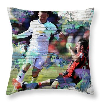 Wayne Rooney Street Art Throw Pillow by Don Kuing