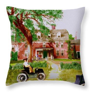 Wayside Inn With Autos Throw Pillow
